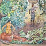 """El Mural """"Tierra Fértil de Guatemala"""", donado por la artista mesoamericana Rina Lazo, ubicado en el vestíbulo del Salón General Mayor, representa la riqueza de nuestra tierra con vasta vegetación, su mensaje está representado con una estela maya, figuras femeninas que simbolizan la fertilidad, un grupo familiar en la enseñanza de la labor de siembra y una vendedora con indumentaria maya, recolectora de los frutos de la tierra."""